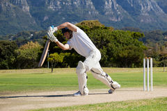 Full length of cricketer playing on field. During sunny day royalty free stock image