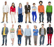 Full Length of Diverse Multiethnic People in a Row royalty free stock photos