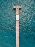 Full length drone view on Deerfield Beach Pier in sunny day.  royalty free stock photo