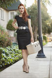 Full length of an elegant woman in a dress walking with a vanity case Royalty Free Stock Photos