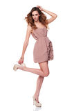 Full length fashion model in gorgeous dress Royalty Free Stock Photos