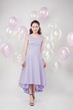 Full-length of fashion photo of beautiful woman with pastel ball. Oons Royalty Free Stock Images