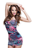 Full length  of fashion model posing in mini skirt. Royalty Free Stock Images