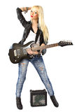 Full length of female punk rock star. Over white background Stock Image