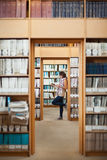 Full length of a female student reading a book in library Royalty Free Stock Photography