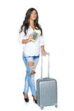 Full length of female with the travel suitcase Stock Photos