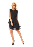 Full length of flirtatious woman in black dress isolated on whit Royalty Free Stock Image
