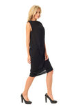 Full length of flirtatious woman in black dress isolated on whit Royalty Free Stock Photo