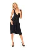 Full length of flirtatious woman in black dress isolated on whit Stock Photography