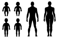 Full length front, back human silhouette set Royalty Free Stock Photography