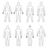 Full length front, back man outlined silhouette set with marked. Full length front, back man outlined silhouette vector illustration with marked body's sizes royalty free illustration