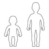 Full length front outlined silhouette child, baby set. Vector illustration isolated on white Stock Photography