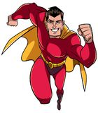 Superhero Running Frontal View. Full length front view of a powerful and muscular superhero running fast during courageous mission isolated on white background Royalty Free Stock Images