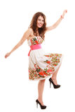 Full length funny woman girl in summer floral dress isolated. Fashion. Royalty Free Stock Images