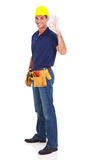 Handyman giving ok Royalty Free Stock Photography