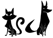 Cat And Dog Silhouettes vector illustration