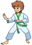 Karate Stance Boy. Full length illustration of a determined boy wearing karate suit and green belt while practicing martial arts for self-defense against white Stock Image
