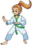 Karate Stance Girl. Full length illustration of a determined girl wearing karate suit and green belt while practicing martial arts for self-defense against white Stock Images