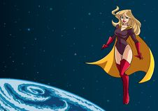 Superheroine Flying in Space Royalty Free Stock Image