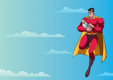 Super Dad with Baby in Sky. Full length illustration of happy superhero dad flying in the sky and holding his cute newborn baby in his arms Royalty Free Stock Photo