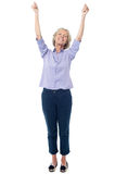 Full length image of excited aged lady Royalty Free Stock Images