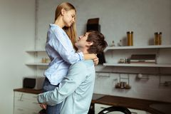 Full length image of romantic couple at home stock photo