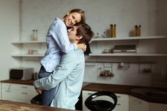 Full length image of romantic couple at home stock photography