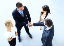 Full length image of two successful business men shaking hands Royalty Free Stock Images