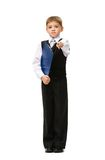 Full length of little businessman with folder Stock Photos