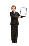 Full-length of little businessman with folder. Full-length portrait of little businessman showing folder, isolated on white. Concept of leadership and success Royalty Free Stock Image