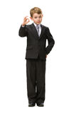 Full length of little businessman okay gesturing Royalty Free Stock Photography