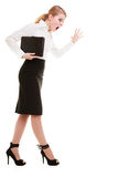 Full length mad businesswoman teacher screaming shouting Stock Images