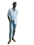 Full length male mannequin dressed in shirts and jeans. Royalty Free Stock Photo