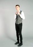 Full length male model. Full length of older teen guy in suit Royalty Free Stock Photography