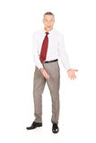 Full length man showing copyspace on the floor Stock Image