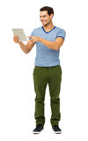 Full Length Of Man Touching Digital Tablet Royalty Free Stock Images