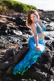 Full Length Mermaid Sitting in the Sun Royalty Free Stock Images