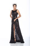 Miss Pageant Contest in Evening Ball Gown long ball dress with D royalty free stock photography