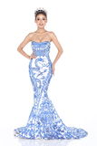 Miss Pageant Contest in Evening Ball Gown long ball dress with D Stock Images