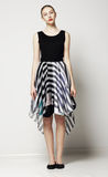 Full Length of Modish Woman in Strippy Dress. Springtime Workday Collection Royalty Free Stock Images
