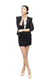 Full Length Of Business Woman Looking Up Stock Images