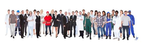 Full length of people with different occupations. Standing against white background Royalty Free Stock Photos