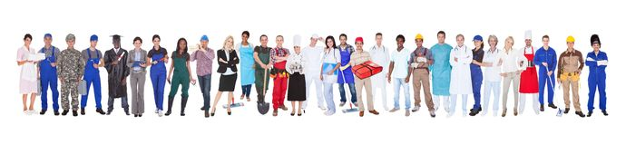 Full length of people with different occupations Royalty Free Stock Image