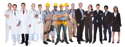 Full length of people with different occupations. Standing against white background Stock Photography