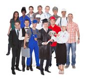 Full length of people with different occupations Stock Photos