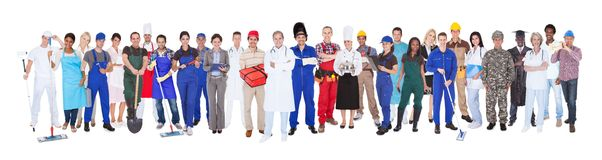 Full length of people with different occupations. Standing against white background Royalty Free Stock Image