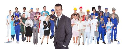 Full length of people with different occupations. Standing against white background Stock Photo