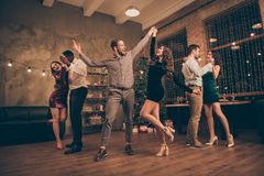 Free Full Length Photo Of Cheerful Lover Dance Have Christmas Time X-mas Party In House With Newyear Lights Indoors Stock Photo - 158066670