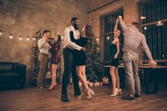 Free Full Length Photo Of Lovely Fellows Dance Celebrate Christmas Party X-mas Holidays In House With Newyear Lights Stock Image - 158066471