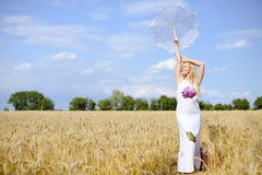 Full length picture of pretty blond female  with Stock Image